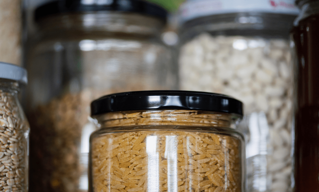 Spice jars in a pantry