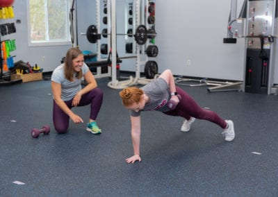 Personal Trainer working with a client in scarborough maine