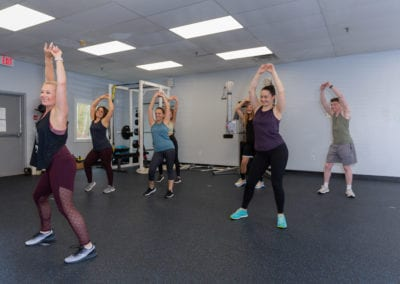 a fitness class in a studio in scarborough maine