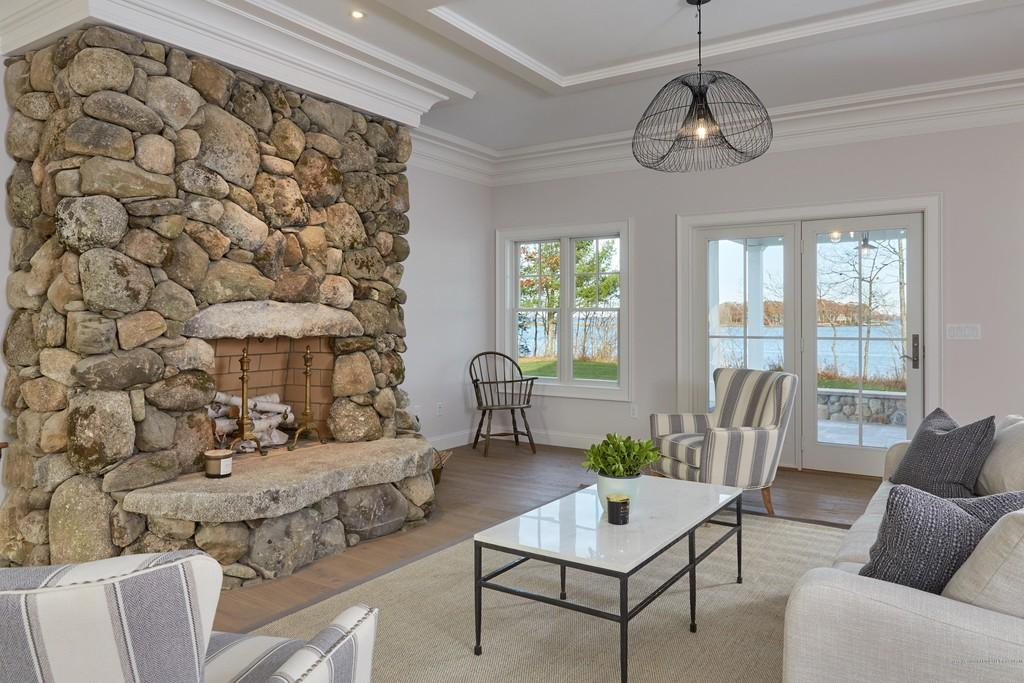 Cousins Island Fireplace in a beautiful coastal home